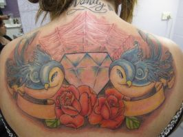 back tattoo blue birds by jamierees