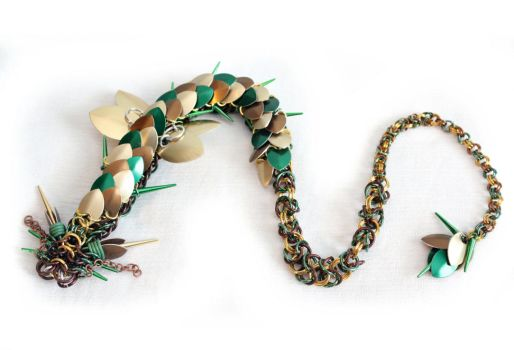 Green, Gold, Bronze Spiked Dragon - 24 Inch by SerenFey