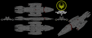 Colonial Valkyrie type Battlestar by Chiletrek