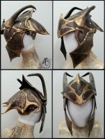 Black Mantis Dragon Leather Helmet by JAFantasyArt