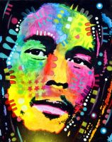 BOB MARLEY WARPAINTED by deanrussoart