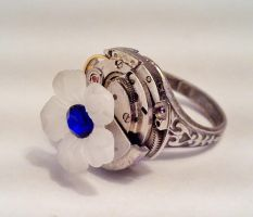Blue Crystal Flower Ring by SteamDesigns