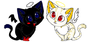 reaper and angel kitties by PI0SON