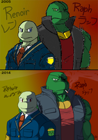 Ren and Raph in casual clothes (before-after) by Tigerfog