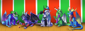 Christmas Group Shot - commission by IcelectricSpyro