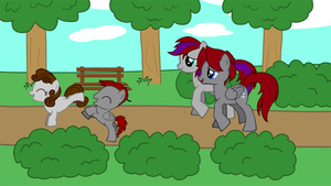 Star Bolt + Amy walking in the park with the foals by Imp344