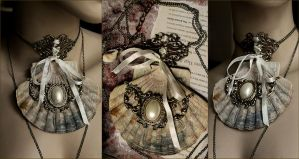 Bohemian Wedding necklace Shell Jabot by Pinkabsinthe