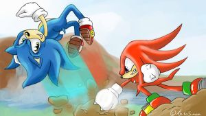 Sonic vs Knuckles by ahitosinea
