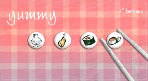 "Sushi 1"" Buttons by LittleMissSarah"