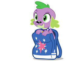 MLP Spike as Dog in Twilight's backpack by Neriani