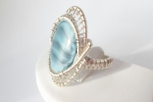 wire wrapped silver beaded ring by Toowired