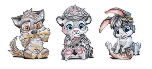 Chibis for Wolfrott by Nordeva