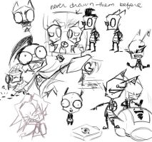 Invader Zim Doodles by 4Anime