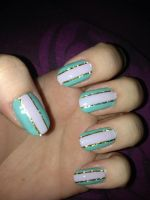 Turquoise and lilac striping (Left hand) by megs2606
