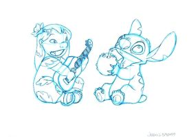 Lilo and Stitch: Sketch 1 by PadawanLinea