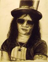 Slash - Guns N' Roses 8B pencil drawing by sudro