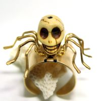 Gothic Steampunk Skull Spider Ring by byrdldy