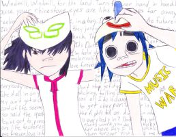 Gorillaz- 2D and Noodle by silverowl19