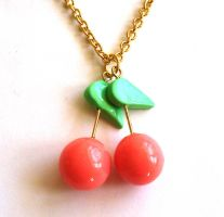 Pink Cherry Necklace by FatallyFeminine