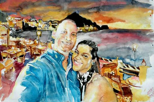 Watercolor Portrait Couple and Landscape by tecnocida