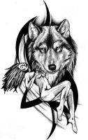 Wolf and vixen tribal tatoo by 13star