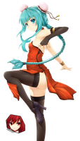 Miku Hatsune HQ render china dress fanart by OneExisting