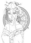 geisha - lineart by oh-odree