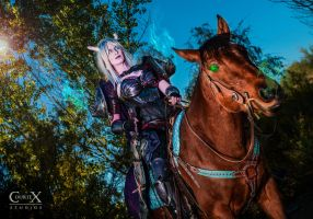 Draenei Death Knight on Horseback by CLeigh-Cosplay