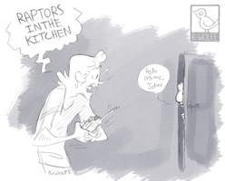 raptors in the kitchen by VCR-WOLFE