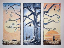 Cat Triptych by KarolineJuzanx