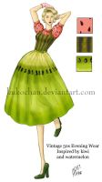 1950s Kiwi-Melon Dress by kukochan