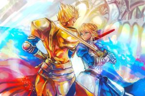 Fate zero - Gilgamesh and Saber by MsViVid