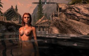 Taking a bath in Skyrim by TKone