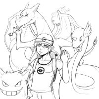 Sketch : Angy pokemon trainer by Angy89