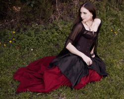Black Brocade Pixie Skirt by CrystalKittyCat