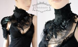 Black collar and shoulder cuff set by Pinkabsinthe