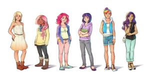 The Mane Six Humanized by vasira