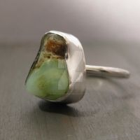Chrysoprase and sterling ring by Jealousydesign