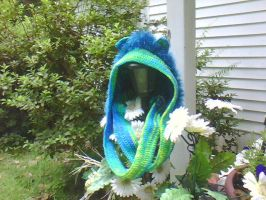 Crochet Warm and fuzzy hood hat with cat ears by SunFireDemon