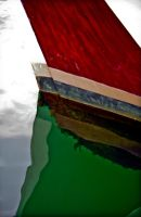 Red Boat in Green Waters by sculptin