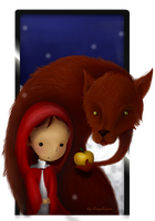 Wolf and apple by Gandillon