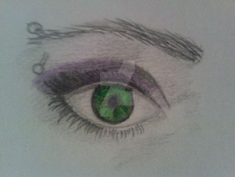 Harmony Eye Drawing Green And Purple by mygenuinefacade