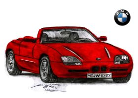 BMW Z1 Ultra Rare and Unique Sports car drawing by toyonda