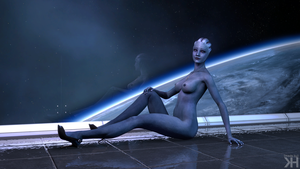 Liara In Front of Space: 2nd Shot (Alternate) by Grummel83