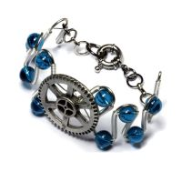 Steampunk Bracelet Silver Gear Dark Aqua Glass by CatherinetteRings