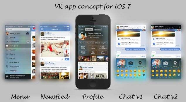 VK app concept for iOS 7 by coLdik
