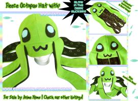 Green Octopus Hat with JUMBO tentacles by AnimeNomNoms