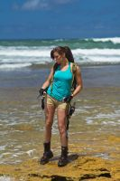 Lara Croft Tomb Raider: Beach 3 by JennCroft
