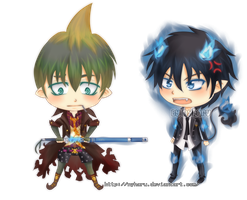 Chibi Amaimon and Rin by nyharu