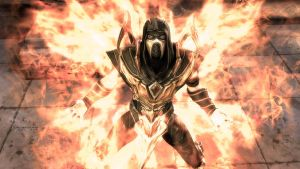 Injustice Gods: Among Us Scorpion in the fire by OrochimaruXDD